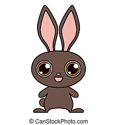 Brown rabbit isolated on white background. Print for T-shirt. Vector illustration