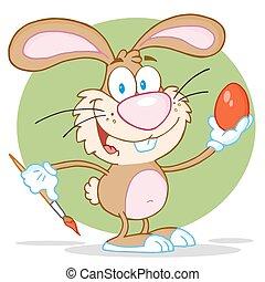 Brown Rabbit Painting Easter Egg