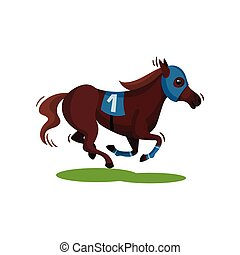 Brown racing horse in blue mask. Solid-hoofed mammal animal. Sport theme. Flat vector design
