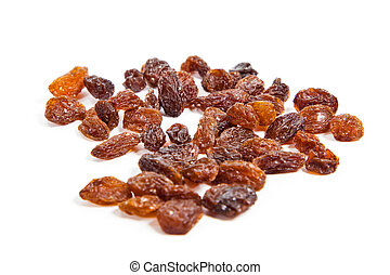 brown raisins on a white background