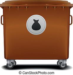brown recycling bin