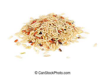 Brown, Red and Wild Rice Isolated on White Background