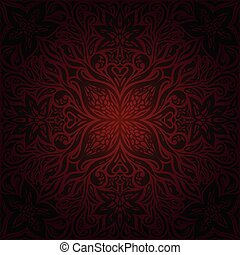 Brown Red Flower wallpaper vector design background vintage mandala