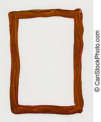 brown red  frame painted on white canvas