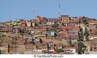 Brown Residential Houses, Oruro, Bolivia - Medium low-angle...