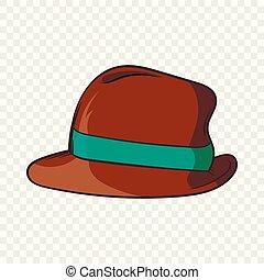 Brown retro hat icon, cartoon style