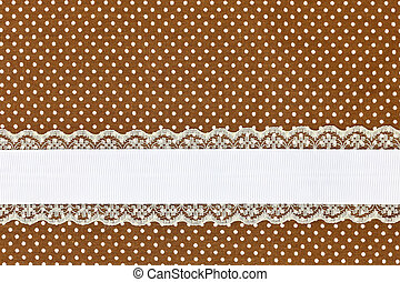 Brown retro polka dot textile background with ribbon
