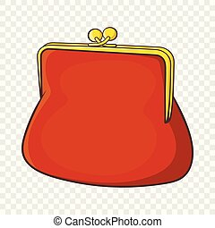 Brown retro purse icon in cartoon style