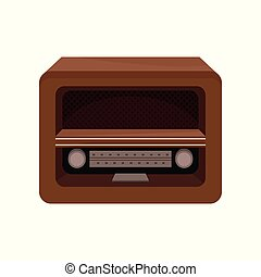 Brown retro radio vector Illustration on a white background