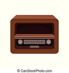 Brown retro radio vector Illustration on a white background