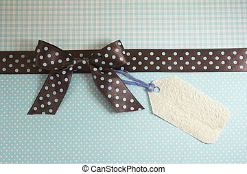 Brown ribbon on blue background