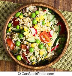 Brown Rice and Vegetable Salad - Brown rice salad with...