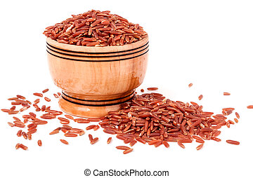 Brown rice in a wooden bowl isolated on white background