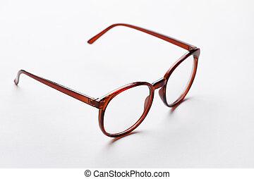 Brown-rim glasses with transparent lenses