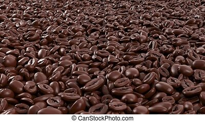 Brown roasted coffee beans. Close up. Coffe Production. Coffee in Breakfast. 3d closeup animation of roasted coffee beans in motion.