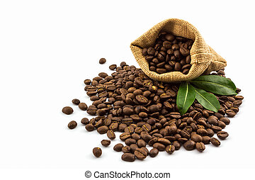 Brown roasted coffee beans in a canvas sack.