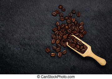 Brown Roasted Coffee Beans with Copy Space