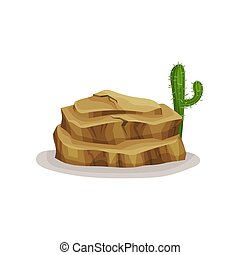 Brown rock stone and cactus, design element of natural landscape vector Illustration on a white background