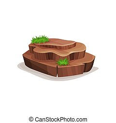 Brown rock stone with green grass, design element of natural landscape vector Illustration on a white background