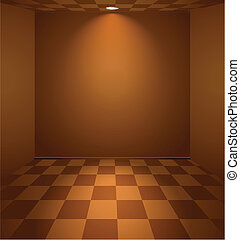 Brown room - Brown lightened room with checked floor and...