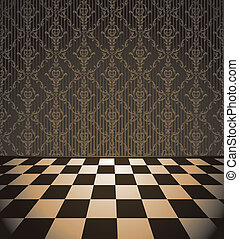 Brown room with checkered floor