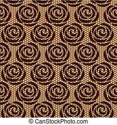 Brown rose lace on beige background
