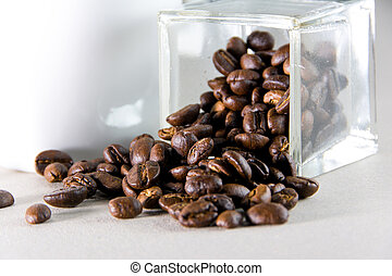 Brown rosted coffee beans