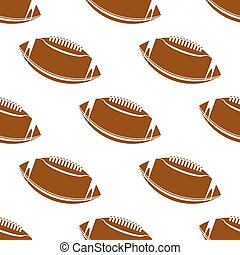 Brown rugby balls seamless pattern