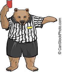 Brown russian bear soccer football referee