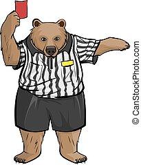 Brown russian bear soccer football referee