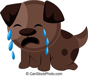 Brown sad dog crying vector illustration on a white background