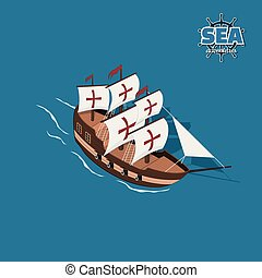 Brown sailer on a blue background. Sailboat in isometric...
