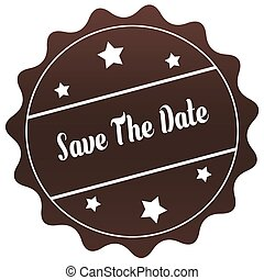Brown SAVE THE DATE stamp on white background.