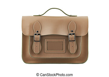 Brown School Satchel isolated on white with clipping path