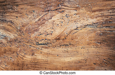 Brown scratched Natural Dark Wooden Background. Old wood texture