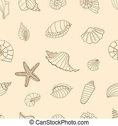Brown Sea shells. - Sea shells. Brown seamless pattern for...