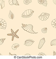 Brown Sea shells. - Sea shells. Brown seamless pattern for...