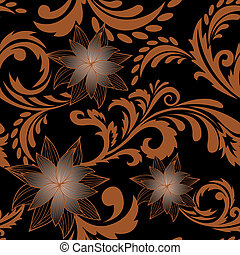 brown seamless background with flowers