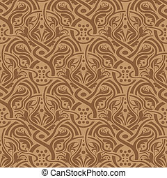 Brown seamless pattern - Brown floral seamless wallpaper...