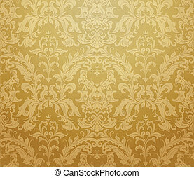Brown seamless wallpaper pattern, vector