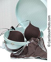 lingerie - Brown seductive lingerie in blue present box