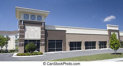brown shades strip mall
