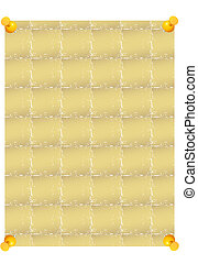 sheet of paper connected by pins