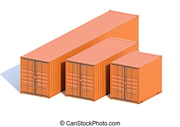 Brown ship cargo containers 10 20 and 40 feet length