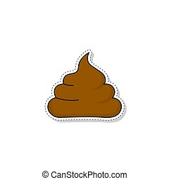 Brown shit sticker on a white background. Poop vector icon.