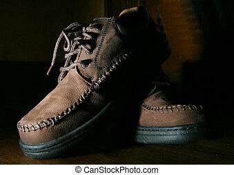 brown shoe closeup low key - low key dark shoe close up with...