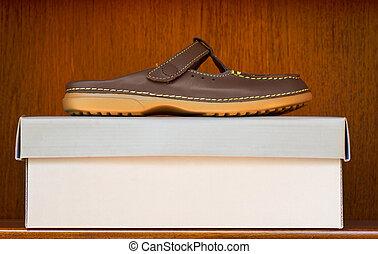 brown shoe on box