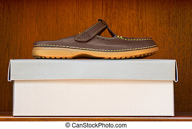 brown shoe on box