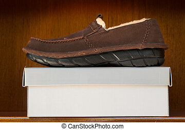 brown shoes on box