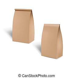 Brown Shopping Paper Bag Isolated White Background